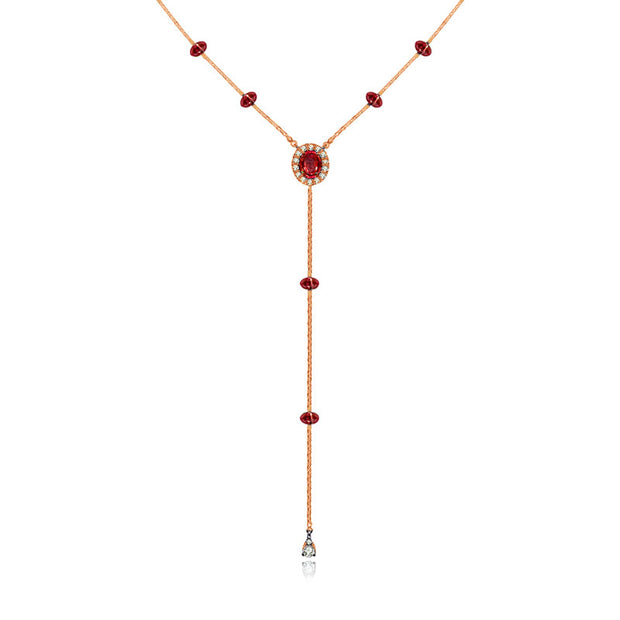 18k Gold By the Yard Ruby Dangle Necklace