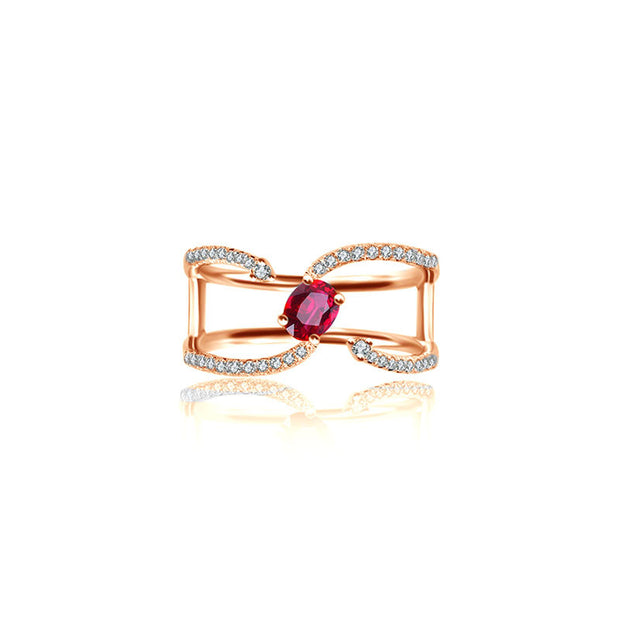18k Gold Single Ruby Connected Diamond Ring - Genevieve Collection