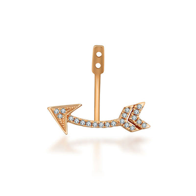 18k Gold Arrow Shape Single Earring Jacket With Round Diamond (Half Pair) - Genevieve Collection