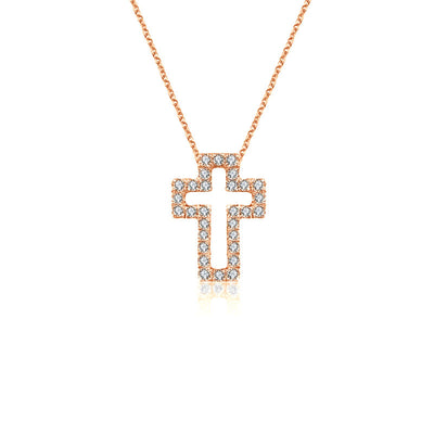 18k Gold 2 ways Cross Diamond Necklace - Genevieve Collection