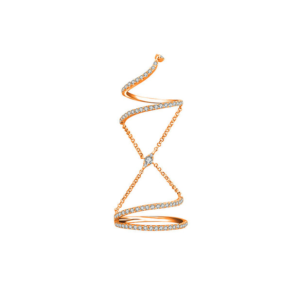 18k Gold Twisted Curve Connection Diamond Ring - Genevieve Collection