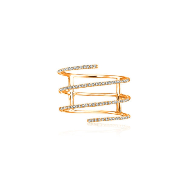 18k Gold Spring Shape Diamond Ring - Genevieve Collection
