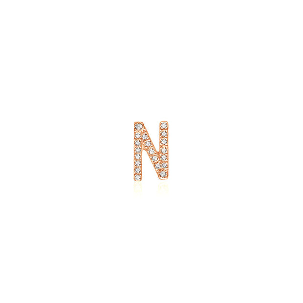 "18k Gold Initial Letter ""N"" Diamond Pandent + Necklace - Genevieve Collection"