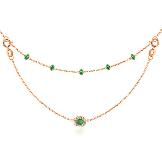 18k Gold 2 Ways By The Yard Emerald Bead Necklace - Genevieve Collection