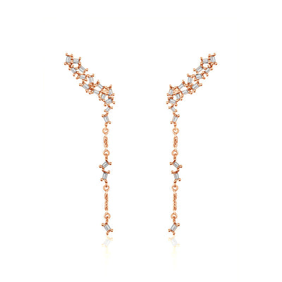 18k Gold Irregular Shape with Rectangle Diamond Dangle Earring - Genevieve Collection