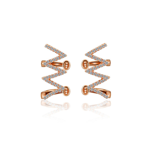 18k Gold Zigzag Diamond Ear Cuff - Genevieve Collection