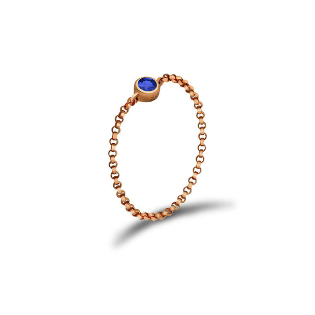 18k Gold September Birthstone Sapphire Chain Ring - Genevieve Collection