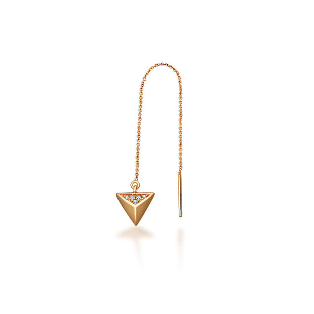 18k Gold Triangle Shape Chain Diamond Earring - Genevieve Collection