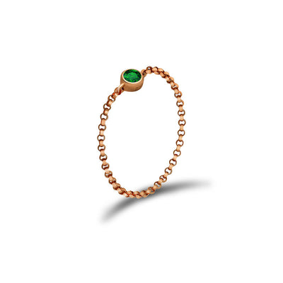 18k Gold May Birthstone Emerald Chain Ring - Genevieve Collection