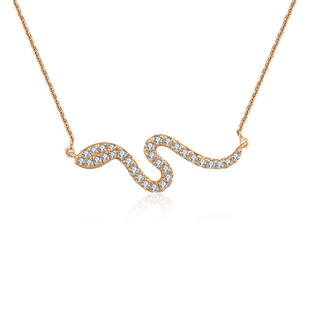 18k Gold Snake Shape Diamond Necklace - Genevieve Collection
