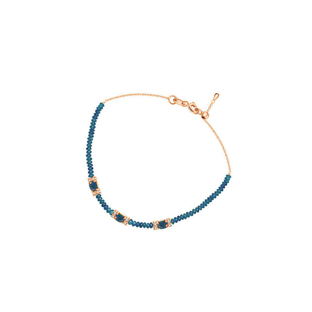 18k Gold Triple Sapphire Diamond Bracelet with Beaded Sapphire - Genevieve Collection