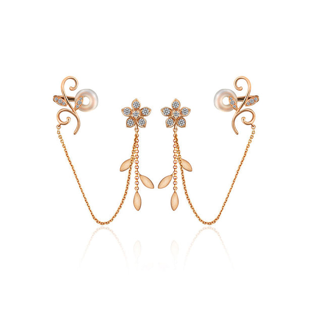 18k Gold Flower Shape with Chain Diamond Ear Cuff & Earring - Genevieve Collection