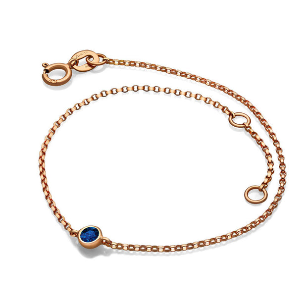 18k Gold September Birthstone Sapphire Bracelet - Genevieve Collection