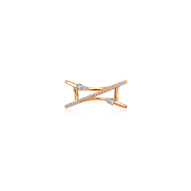 18k Gold Double Arrow Spiral Diamond Ring - Genevieve Collection