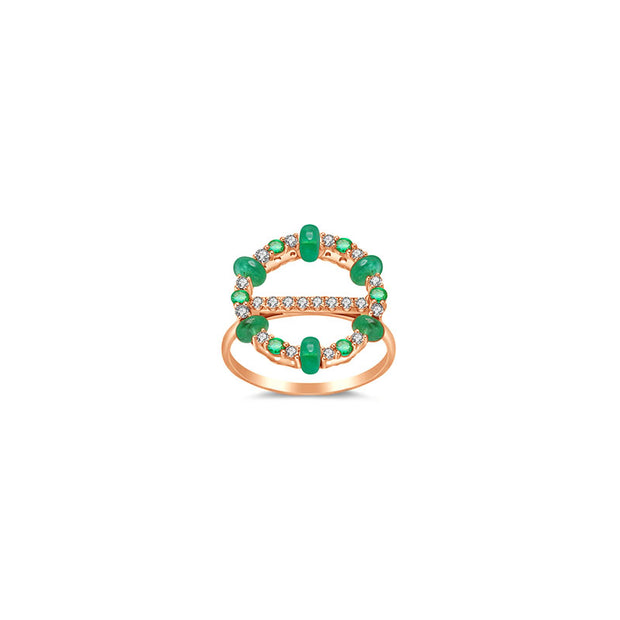18k Gold 2 ways Beaded Emerald and Diamond Ring - Genevieve Collection