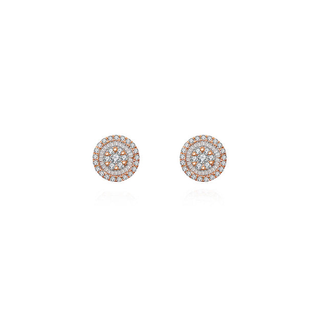 18k Gold Round Shape Diamond Earring