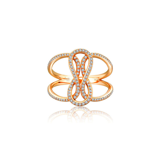18k Gold Curved Loop Diamond Ring - Genevieve Collection