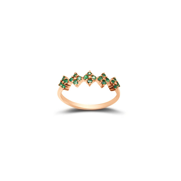 18k Gold Square Pattern Emerald Ring - Genevieve Collection