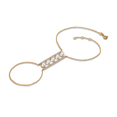18k Gold Line Pearl 2 Way Diamond Bracelet - Genevieve Collection