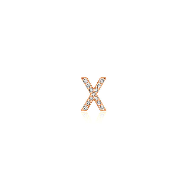 "18k Gold Initial Letter ""X"" Diamond Pendant - Genevieve Collection"
