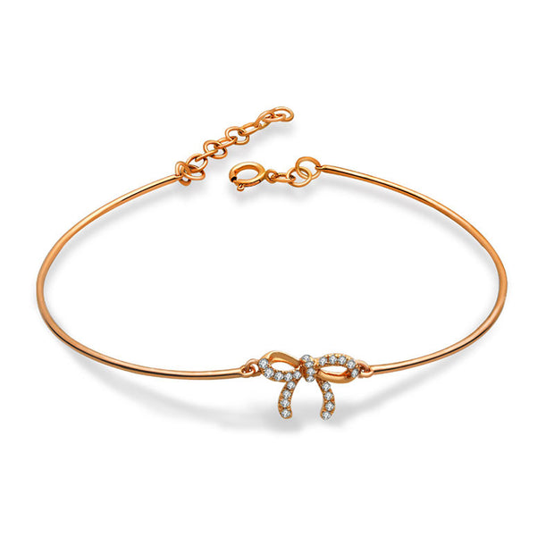 18k Gold Diamond Ribbon Bow Bangle - Genevieve Collection