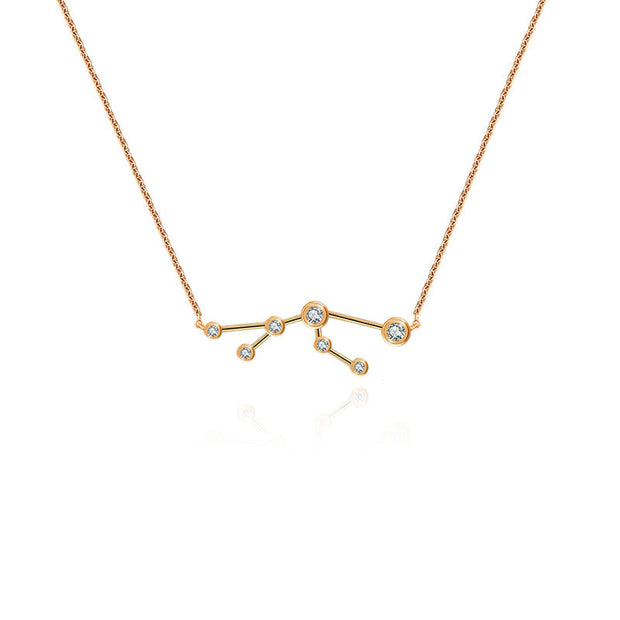 Taurus Zodiac Constellation Necklace 18k Gold & Diamond - Genevieve Collection