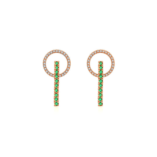 18k Gold Hollow Round Shape with Line Emerald Earring - Genevieve Collection