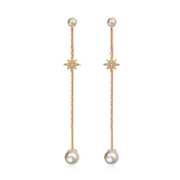 18k Gold Star Shape Chain Diamond Earring With Pearl - Genevieve Collection