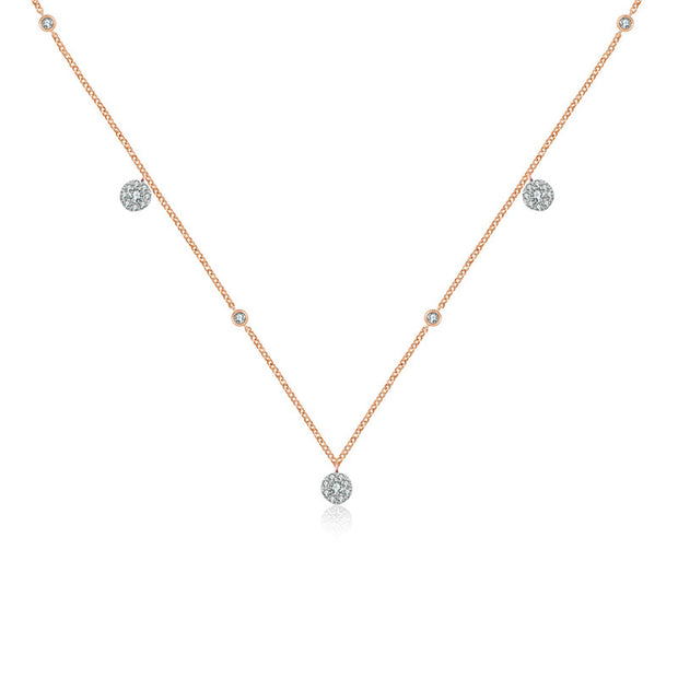 18k Gold Round Shape Diamond Necklace / Choker - Genevieve Collection
