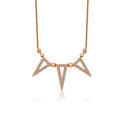 18k Gold Triple Hollow Triangle Diamond Necklace - Genevieve Collection