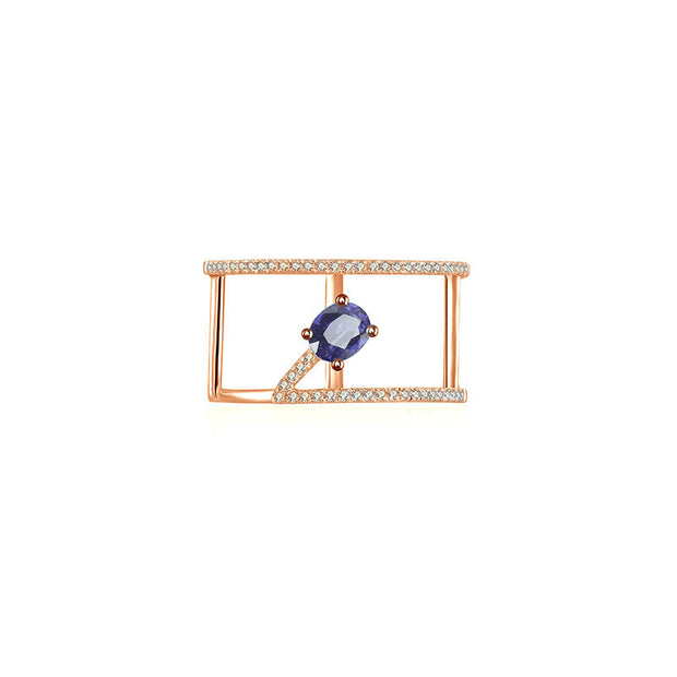 18k Gold Diamond Double Ring with Sapphire - Genevieve Collection