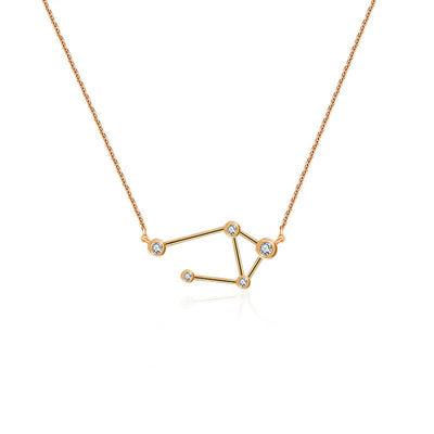 Libra Zodiac Constellation Necklace 18k Gold & Diamond - Genevieve Collection