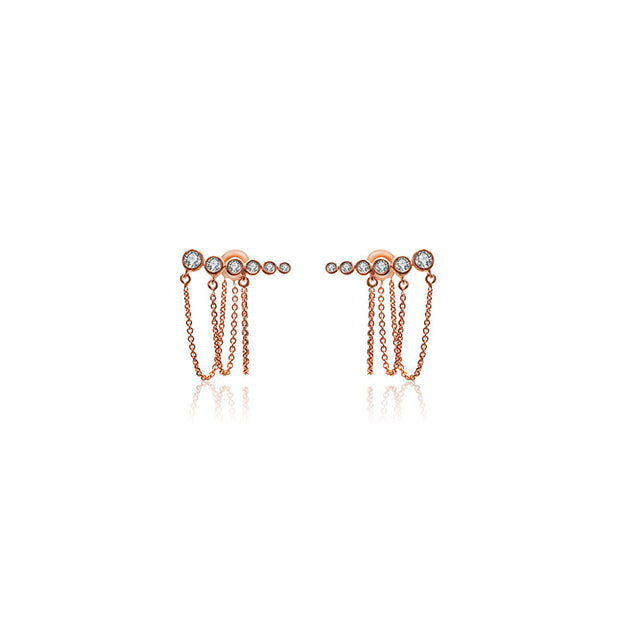 18k Gold Triple Chain Diamond Earring - Genevieve Collection
