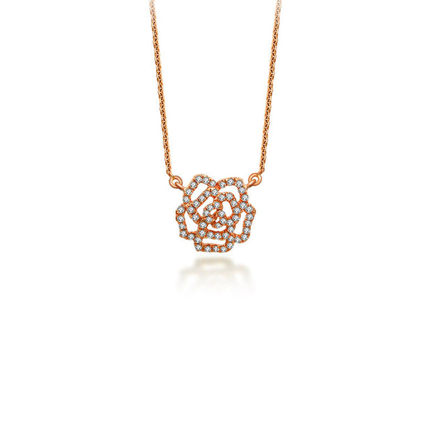 18k Gold Rose Diamond Necklace - Genevieve Collection
