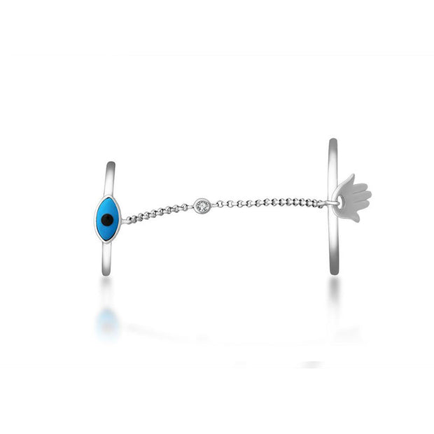 18k Gold Evil Eye Chain Connection Ring - Genevieve Collection