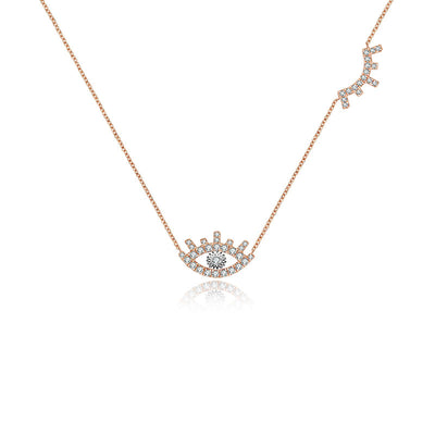 18k Gold Evil Eye & Eyelash Diamond Necklace