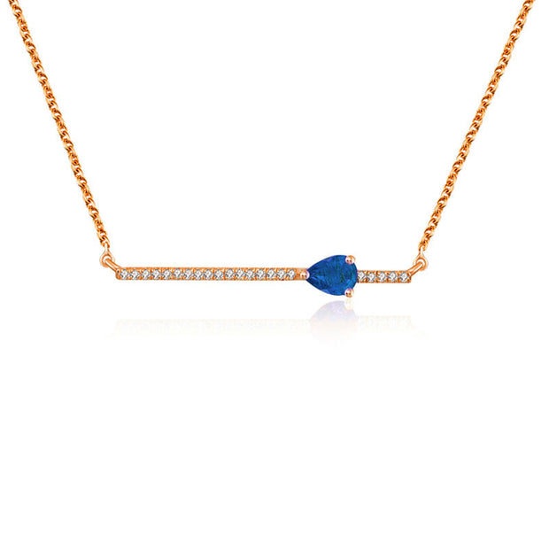 18k Gold Line Diamond Necklace with Drop Shape Sapphire - Genevieve Collection
