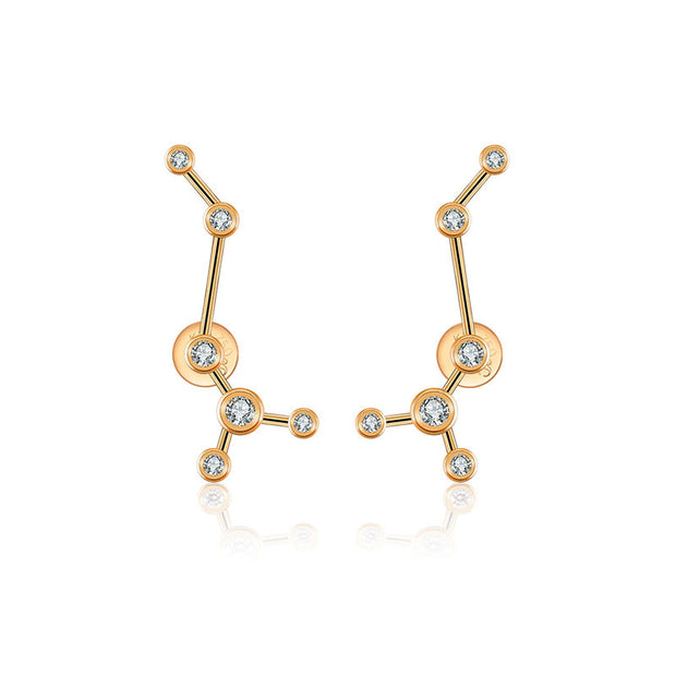 Scorpio Zodiac Constellation Earring 18k Gold & Diamond - Genevieve Collection