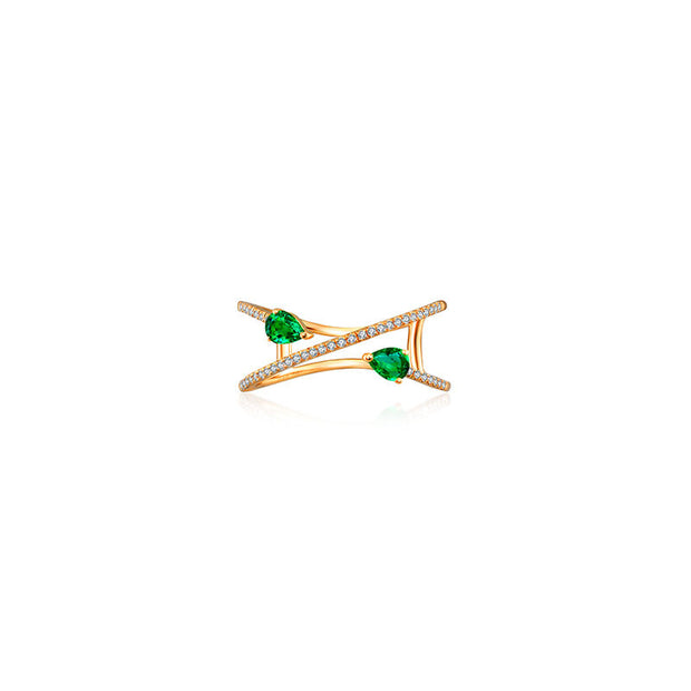 18k Gold Emerald Arrow Spiral Diamond Ring - Genevieve Collection