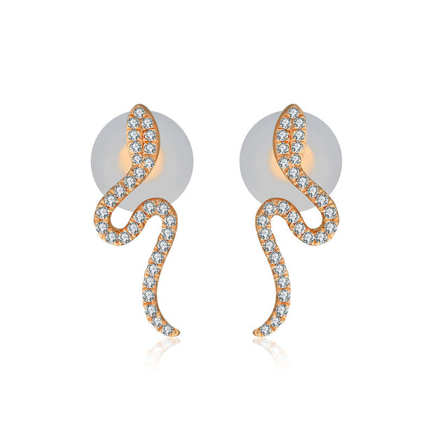 18k Gold Snake Shape Diamond Earring - Genevieve Collection