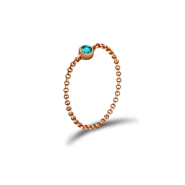 18k Gold December Birthstone Topaz Chain Ring - Genevieve Collection