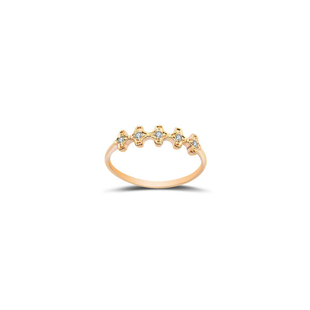 18k Gold Fog Arabesque Diamond Ring - Genevieve Collection