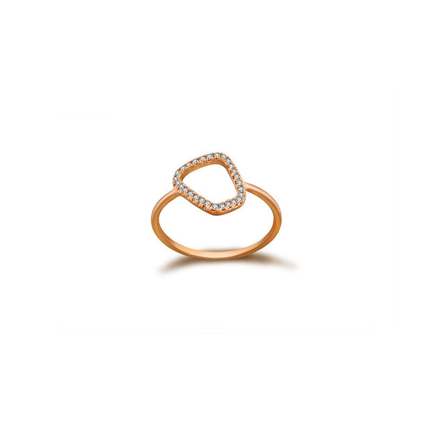 18k Gold Hollow Stone Shape Diamond Ring - Genevieve Collection