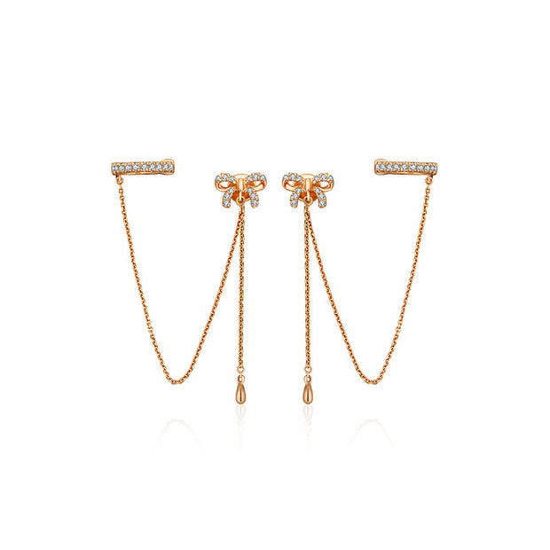 18k Gold Ribbon Shape with Chain Diamond Ear Cuff & Earring - Genevieve Collection