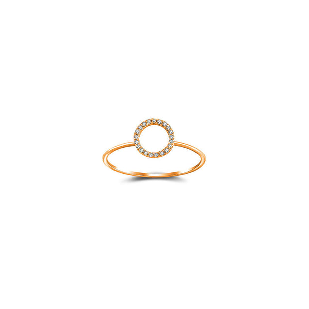 18k Gold Hollow Round Pave Diamond Ring - Genevieve Collection