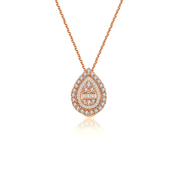 18k Gold 2 ways Drop Shape Diamond Necklace - Genevieve Collection