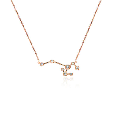 Sagittarius Zodiac Constellation Necklace 18k Gold & Diamond - Genevieve Collection