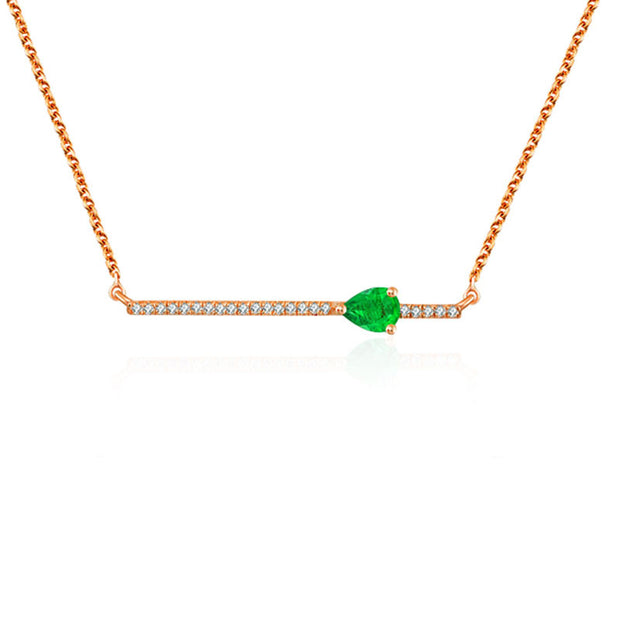 18k Gold Line Diamond Necklace with Drop Shape Emerald - Genevieve Collection