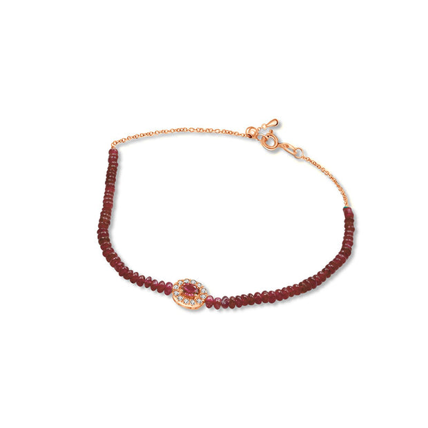 18k Gold Ruby Beaded Diamond Bracelet