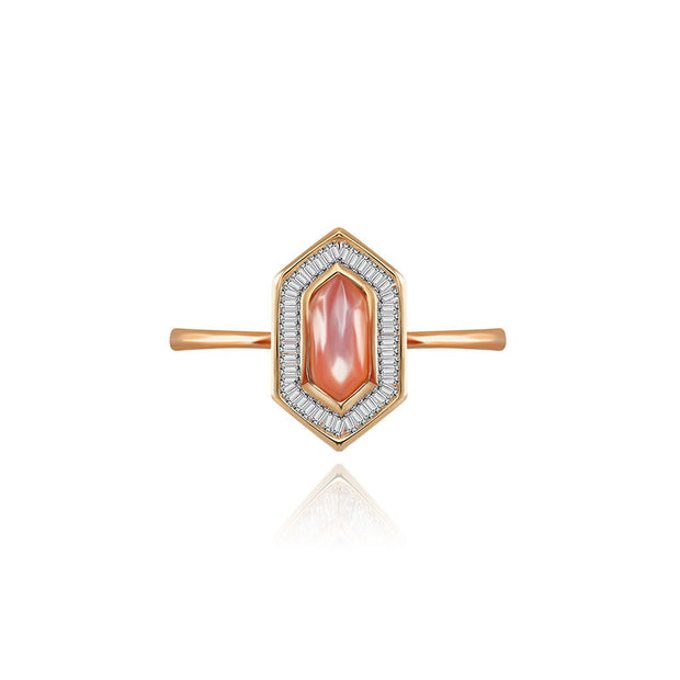 18k Gold Hexagonal Shape Pink Shell Diamond Ring - Genevieve Collection